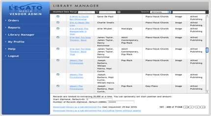 Screenshot of Library Manager Page